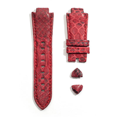 Leather Strap in Red Python