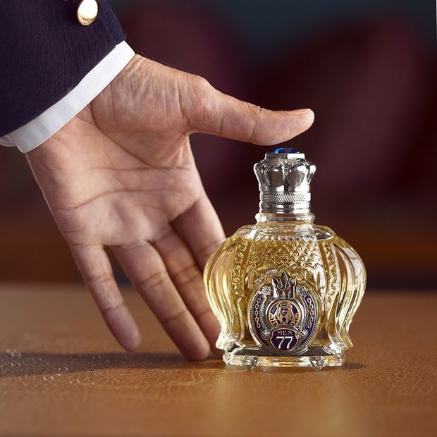"Opulent Shaik Sapphire <div style=""padding-top:15px;color: #9b9b9b ;font-size:14px;font-style:regular;"">No.77 Parfum for Men 100ml</div>"