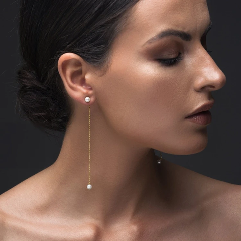 Chain earrings with pearls