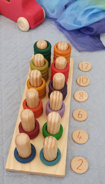 Wooden Ring Peg Stacker and Early Numeracy Skills