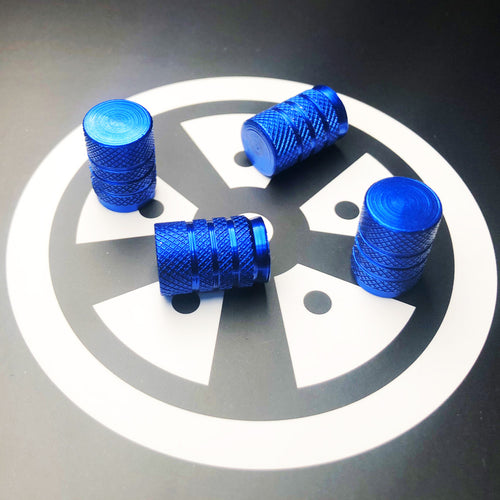 Blue Mid Valve Caps x4 (Metal)