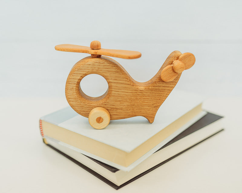 Wooden Helicopter w/ Spinning Wheels & Propeller