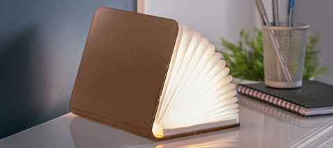 Leather Smart Book Light - Stor Brun læder