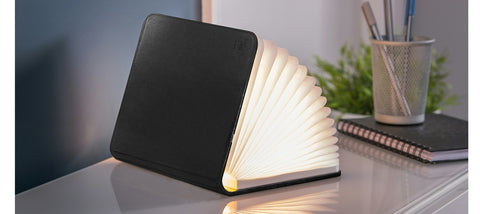 Leather Smart Book Light - Stor Sort læder