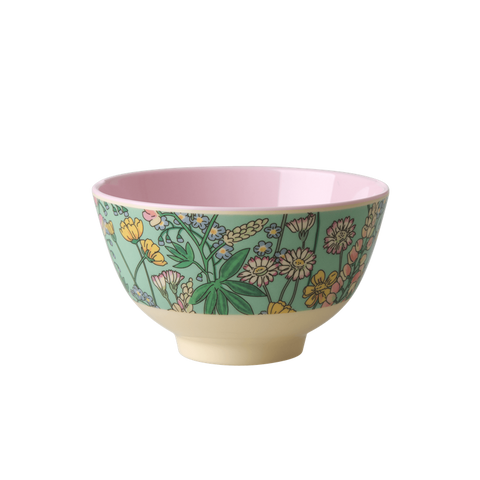 RICE Melamine Bowl with Lupin Print - Two Tone