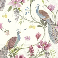 Servietter - Design: Peacock Garden - light blue