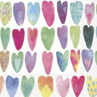 Servietter - Design: Rainbow hearts