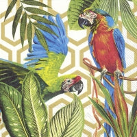 Servietter - Design: Tropical Parrots gold