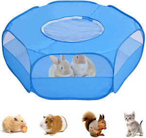 HELIAN Small Animal Playpen Foldable Portable Pet Cage,Waterproof Breathable Transparent Indoor Outdoor Use Yard Fence Tent