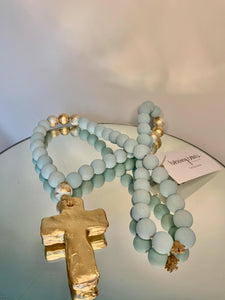 Large Blue/Gold Blessing Beads with Cross Charm - 30""