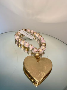 Small Pink/Gold Blessing Beads with Heart Charm - 13""