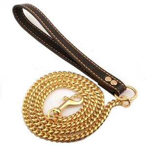 10mm Wide Luxury Gold Dog Leash Training Choke Lead for Large Dogs