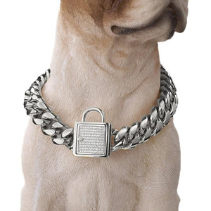 Cuba's Dog Chain Gold Stainless Steel Gem Lock