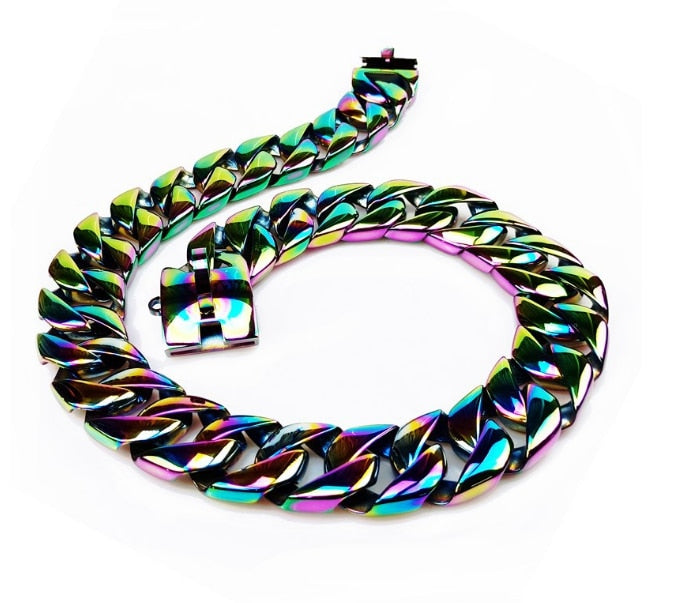 Stainless Steel Colorful Design Collar/Leash