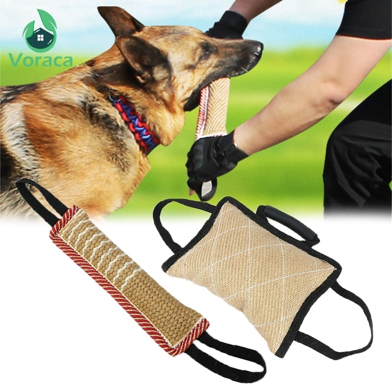 Durable Dog Training Bite Tug Pillow Sleeve with 2 Rope Handles for Training