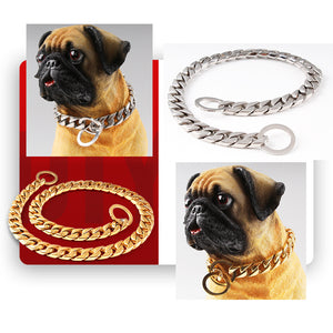 15mm Luxury Dog Choke Collar Heavy Duty Stainless Steel Curb Chain