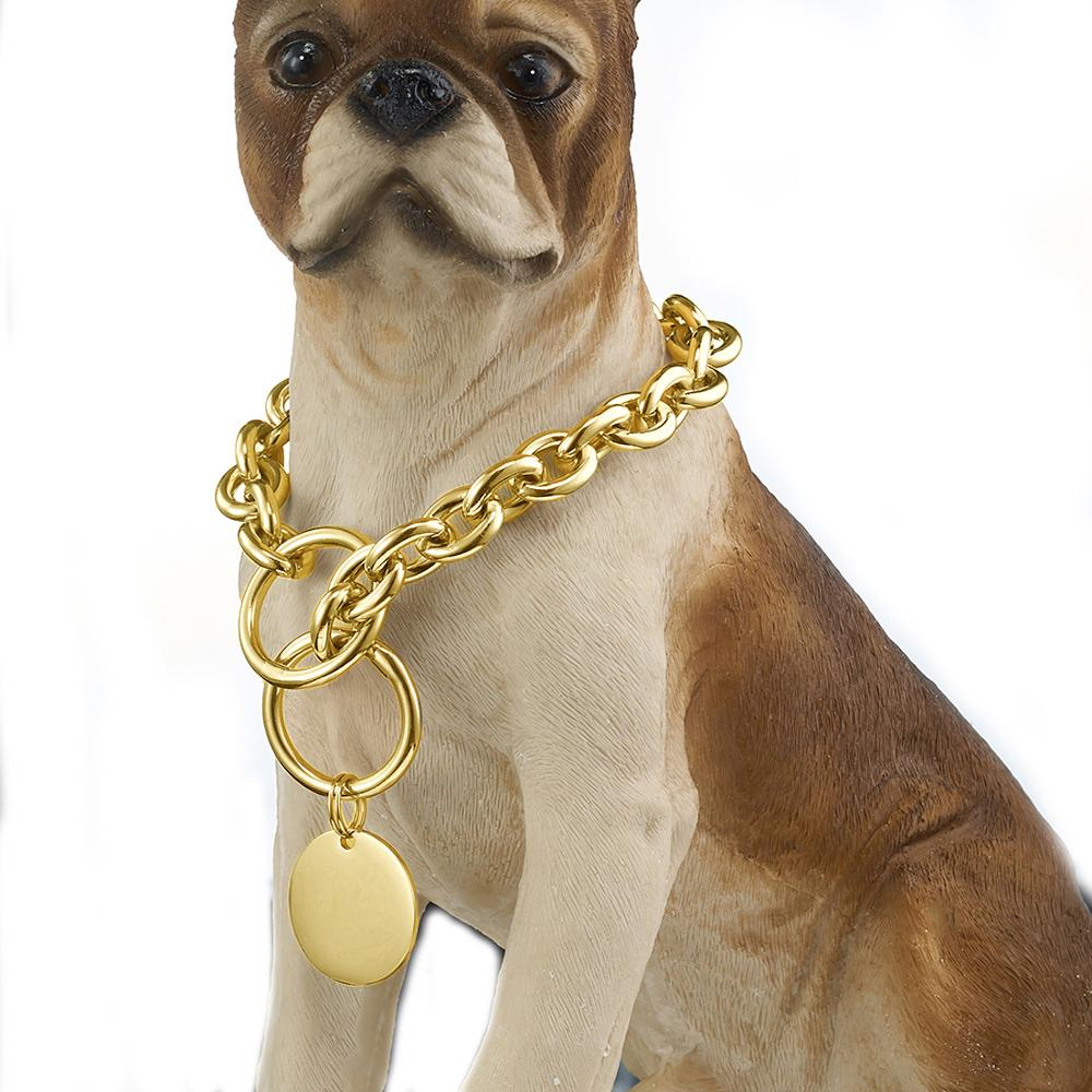 Metal Dog Chain Stainless Steel Gold And Silver Solid collar