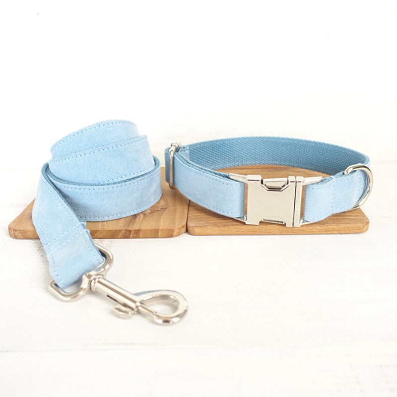 Velvet Made Adjustable Dog Collars and Leash Gold Buckle