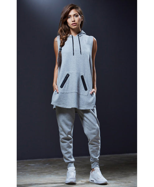 Sweat Crew Sleeveless Side Slit Hoodie