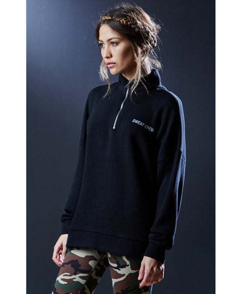 Sweat Crew Half Zip Mock Neck Sweatshirt