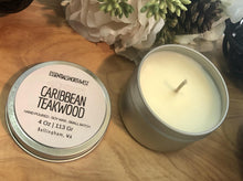 Load image into Gallery viewer, Caribbean Teakwood, soy candle, 4 ounce tin, candle