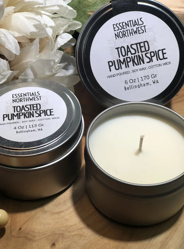 Toasted Pumpkin Spice, 6 soy candle tin, 4 soy candle tin