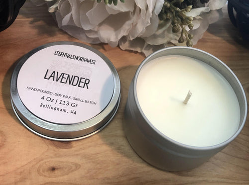 Lavender blend, soy candle, 4 ounce candle tin