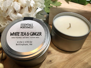 White Tea & Ginger, 6 ounce soy candle tin