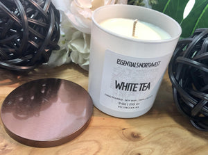 White Tea, scented soy candle, 9 ounce glass jar, candle