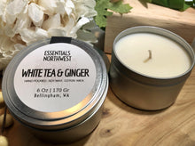 Load image into Gallery viewer, White Tea & Ginger, 6 ounce soy candle tin