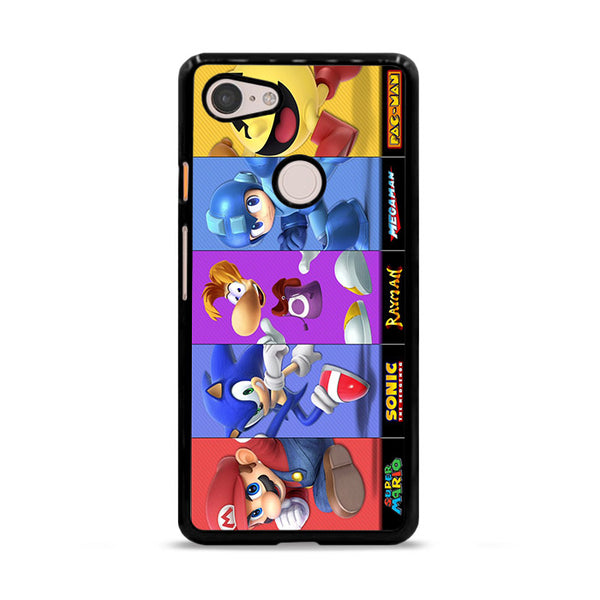 Mario Sonic Rayman Megaman And Pac Man Google Pixel 3 Case