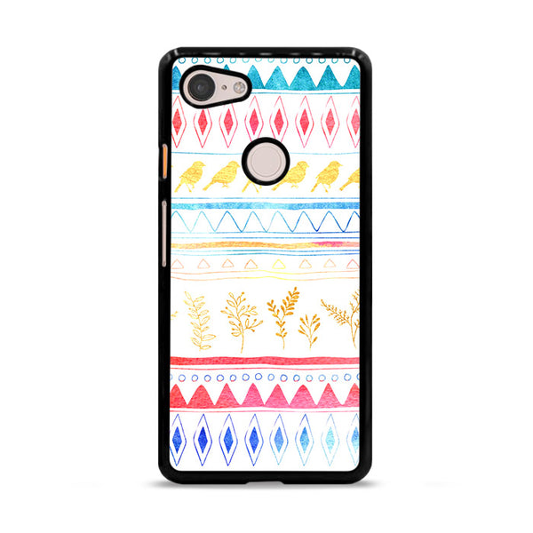 Birds X Plants Hand Drawn Tribal Google Pixel 3 Case
