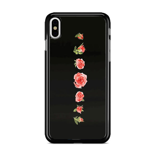 Blooming Red Rose Black Painting iPhone X Case