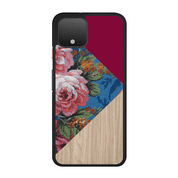 Geometric Floral Print X Red Wood Google Pixel 4 Case