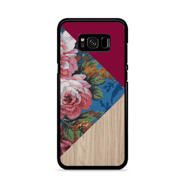 Geometric Floral Print X Red Wood Samsung Galaxy S8 Plus Case