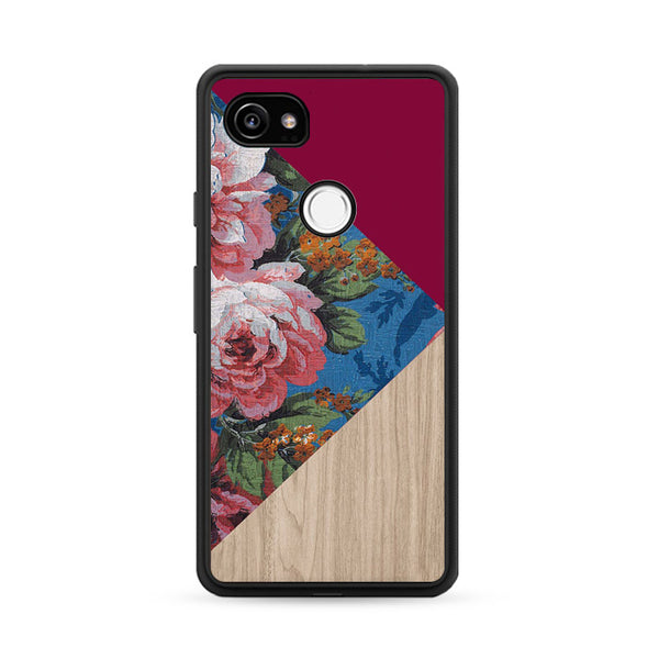 Geometric Floral Print X Red Wood Google Pixel 2 XL Case