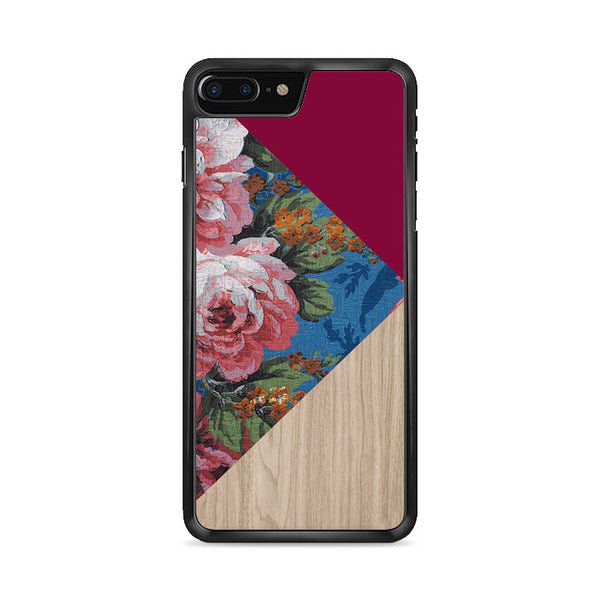 Geometric Floral Print X Red Wood iPhone 7 Plus Case