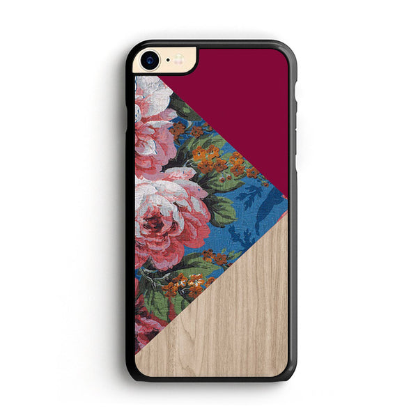 Geometric Floral Print X Red Wood iPhone 7 Case