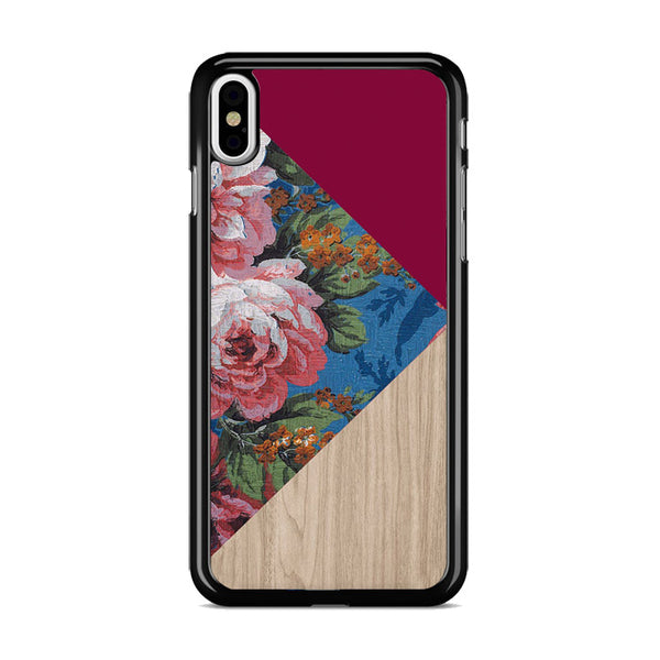 Geometric Floral Print X Red Wood iPhone XS Case