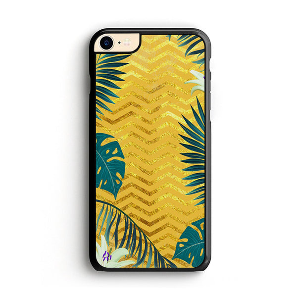 Gold Glitter Chevron X Tropical Forest iPhone 7 Case