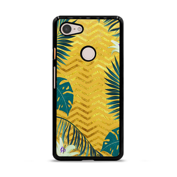 Gold Glitter Chevron X Tropical Forest Google Pixel 3 Case