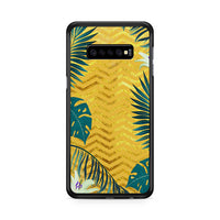 Gold Glitter Chevron X Tropical Forest Samsung Galaxy S10 Plus Case