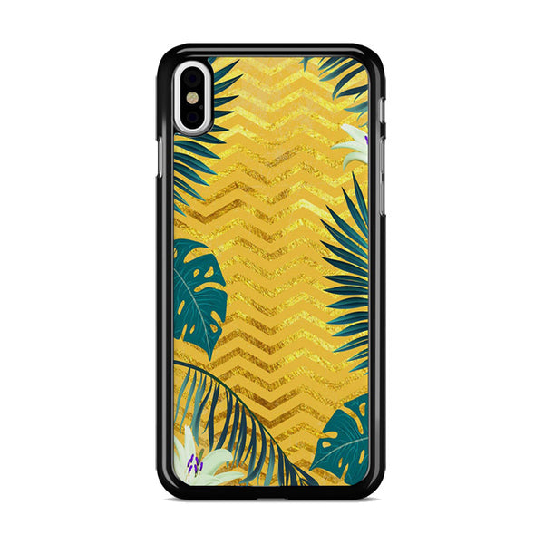 Gold Glitter Chevron X Tropical Forest iPhone XS Max Case