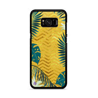 Gold Glitter Chevron X Tropical Forest Samsung Galaxy S8 Plus Case