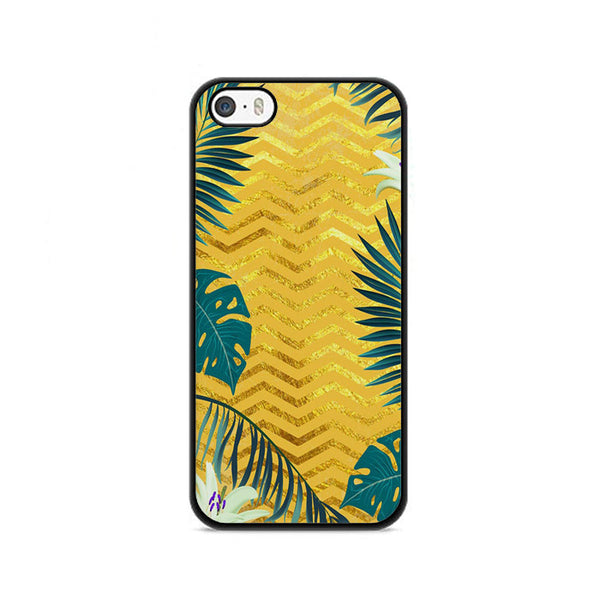 Gold Glitter Chevron X Tropical Forest iPhone 5|5S|SE Case