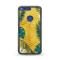 Gold Glitter Chevron X Tropical Forest Google Pixel XL Case