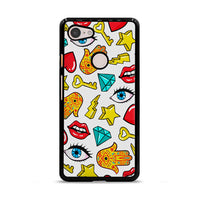Hamsa Lips Diamonds Noise Icons Google Pixel 3 XL Case