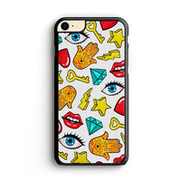 Hamsa Lips Diamonds Noise Icons iPhone 8 Case