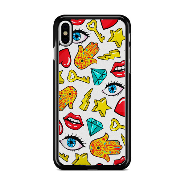 Hamsa Lips Diamonds Noise Icons iPhone X Case