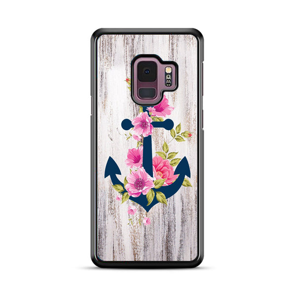 Navy Blue Anchor X Flowers X Wood Design Samsung Galaxy S9 Case
